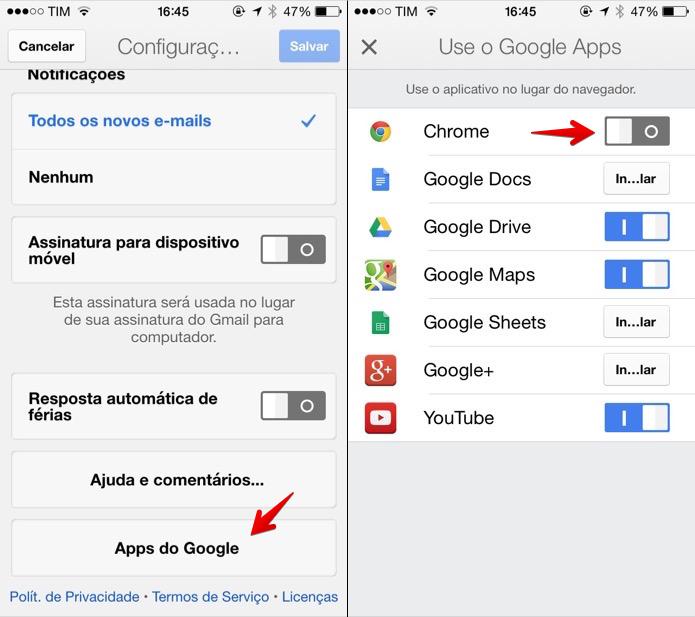 Desativando integração do Gmail com o Chrome (Foto: Reprodução/Helito Bijora)