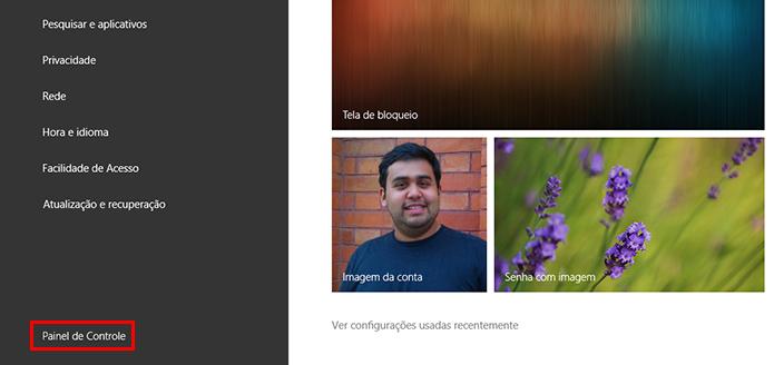 Entre no Painel de Controle na tela de configurações gerais do Windows 8 (Foto: Reprodução/Paulo Alves)