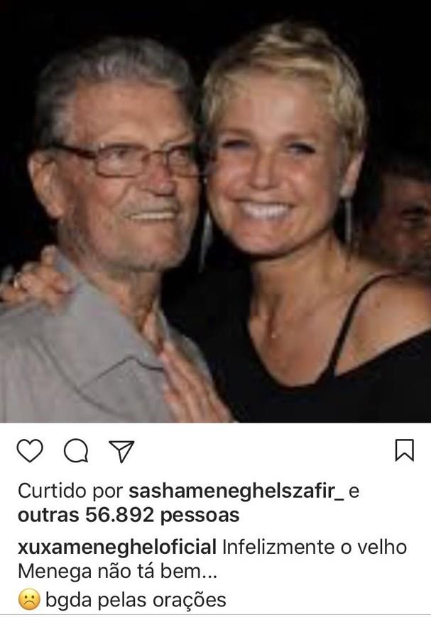Xuxa aponta erro médico no coma de seu pai Luiz (Foto: Reprodução\ Instagram)