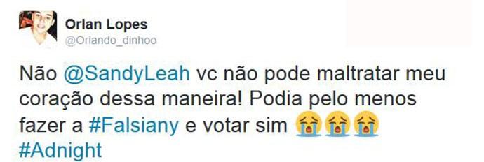 Internautas comentam voto de Sandy (Foto: Reprodução)