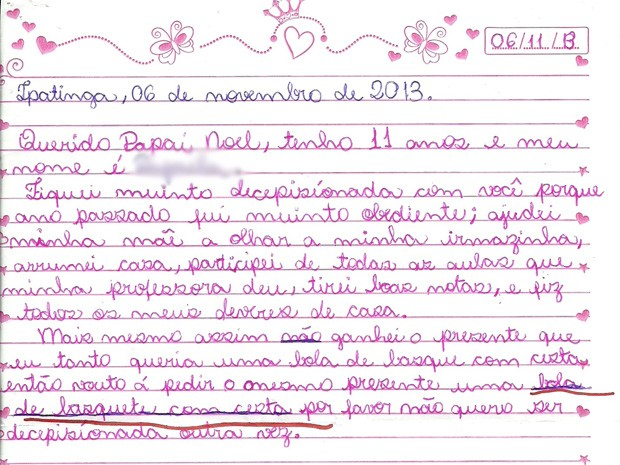 Criança ficou chateada por não ter recebido presente pedido mesmo tendo se comportado bem.  (Foto: Ana Angelica Martins Badaro/VC no G1)