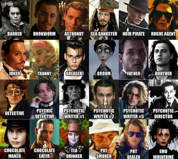 As várias faces de Johnny Depp (Foto: Reprodução)