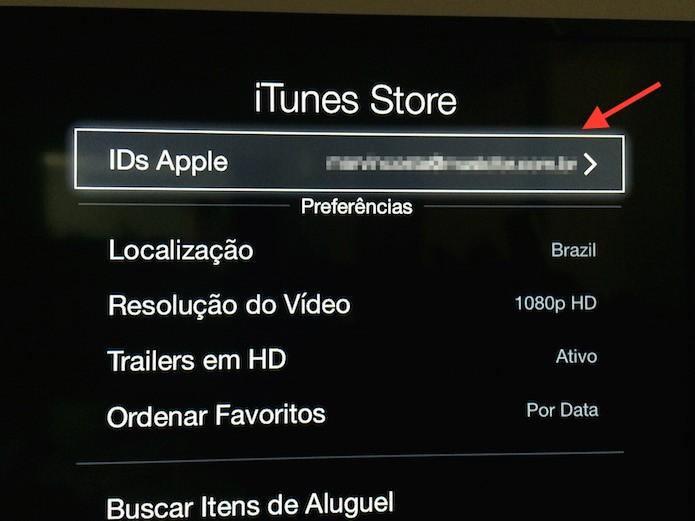Acessando as configurações de IDs da Apple na Apple TV (Foto: Reprodução/Marvin Costa)