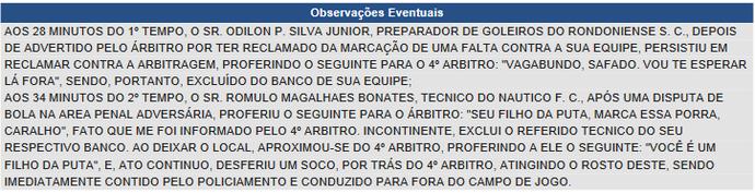 Súmula do jogo entre Náutico-RR e Rondoniense (Foto: Reprodução/CBF)