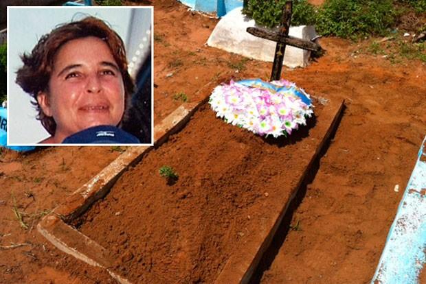 Corpo de Edilma foi enterrado na manhã desta sexta (24) no Cemitério Bom Pastor, em Natal (Foto: Edmilson Santos/G1)
