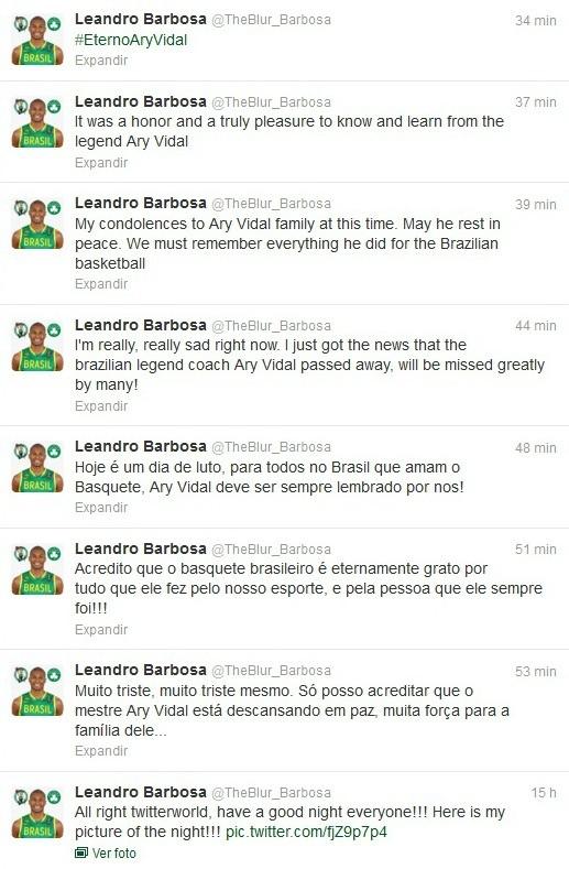 Leandrinho basquete lamenta a morte de Ary Vidal  (Foto: Reprodução/Twitter)