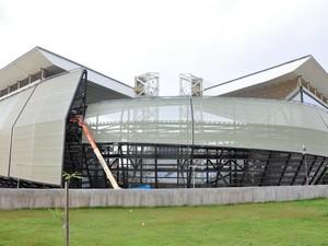 Estádio da Copa em Cuiabá, Arena Pantanal virou objeto de polêmica devido a supostos danos estruturais causados pelo incêndio de outubro. (Foto: Renê Dióz/G1)