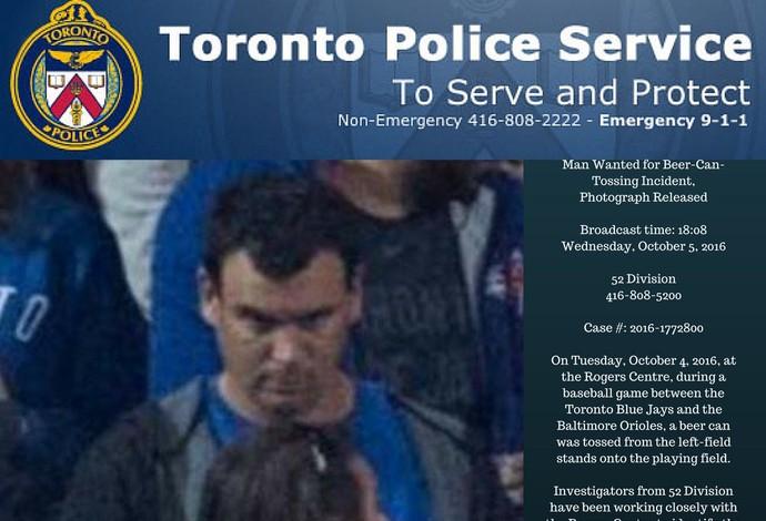 Foto disponibilzada pela polícia de Toronto do suspeito de atirar a lata no gramado (Foto: Reprodução/Twitter)