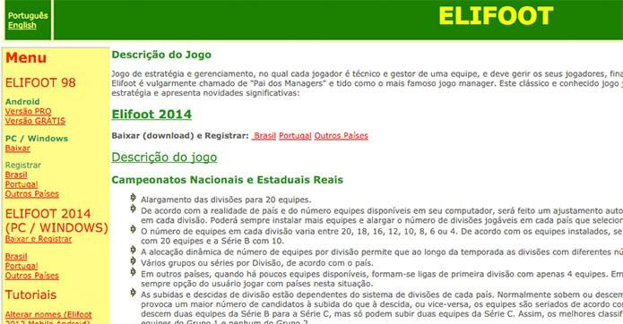 Página oficial de Elifoot 98 (Foto: Reprodução/Felipe Vinha)