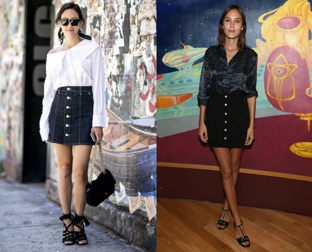 Com perfumes vintage, a saia jeans em linha A é favorita (Foto: Imaxtree e Getty)