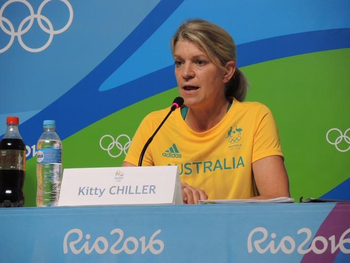 Kitty Chiller, chefe da missão da Austrália, em coletiva (Foto: Gustavo Rotstein)