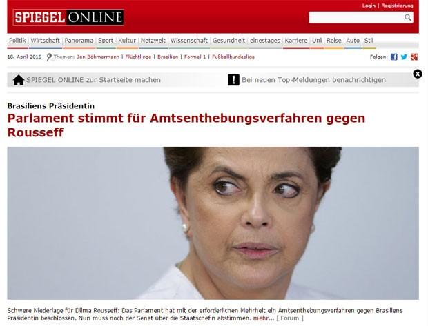 O site da revista alemã Der Spiegel também publicou nota sobre a abertura do processo de impeachment (Foto: Reprodução/Der Spiegel)