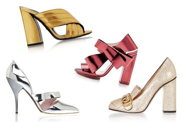 Metalizados: Mule amarela Miu Miu; sandália vermelha Delpozo, à venda no Moda Operandi; modelo prata Oscar de la Renta (Foto: Divulgação)