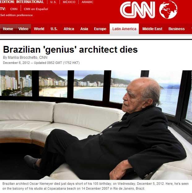A CNN chama Oscar Niemeyer de 'gênio' em sua edição digital. A emissora diz que 'No Rio, as suas curvas sinuosas inspiraram a obra de muitos poetas, escritores e letristas' (Foto: Reprodução)