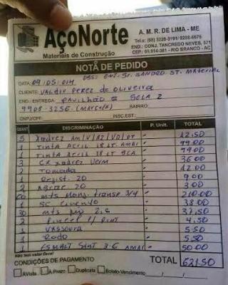 Nota fiscal confirma entrega de material na cela 2 do Pavilhão G, do Presídio Francisco d'Oliveira Conde, em Rio Branco (Foto: Arquivo Pessoal)