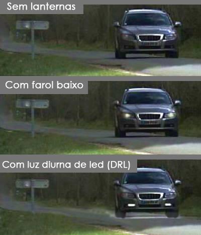 Veja a diferença entre as luzes diurnas (Foto: Reprodução)