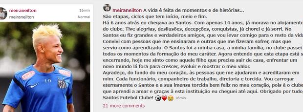 Neilton Santos despedida