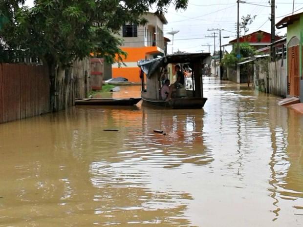 Nível do Rio Tarauacá nesta terça (31) marcou 10,60 metros, segundo Defesa Civil  (Foto: Charles Souza/Arquivo pessoal)