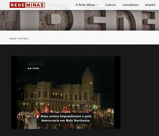 Rede Minas exibe, durante a programação, cobertura especial sobre protestos contra impeachment (Foto: Reprodução)