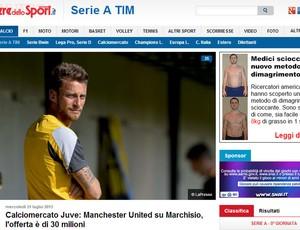 Reprodução corriere dello sport Marchisio juventus manchester united (Foto: Reprodução / Jornal Corriere dello Sport)
