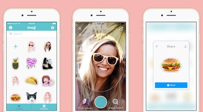Selecione ou crie emoji para usar em suas conversas com o Imoji for Messenger (Foto: Divulgação/AppStore)