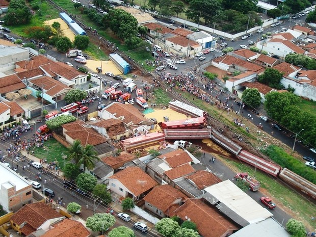 Fotos aéreas mostram dimensão do acidente (Foto: Polícia Militar de Rio Preto)