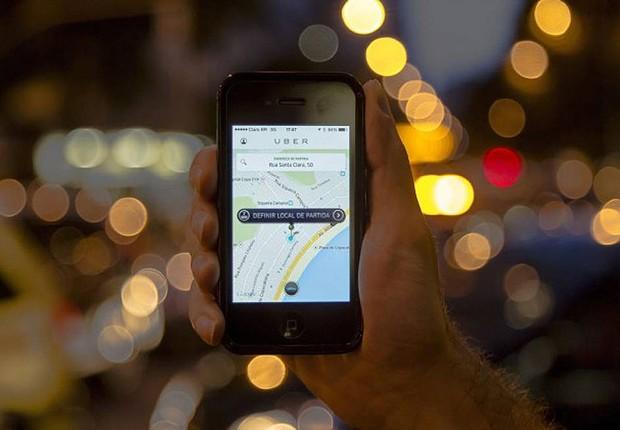 Aplicativo Uber (Foto: Tela do aplicativo Uber - Leo Martins / Agência O Globo)