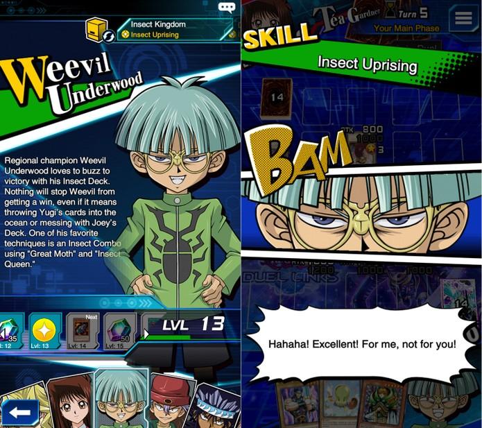 Yu-Gi-Oh! Duel Links: Weevil possui muitas skills, mas pouco diferenciadas (Foto: Reprodução/Vinícius Mathias)