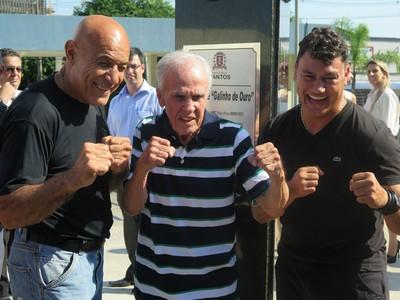 Miguel de Oliveira, Éder Jofre e Popó recebem homenagem em Santos (Foto: Cássio Lyra)