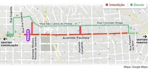 Mapa das interdições na Avenida Paulista - 0h (Foto: Arte/G1)