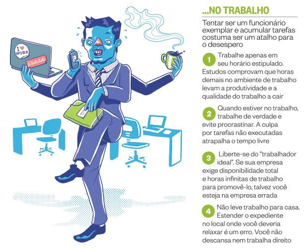 ...no trabalho (Foto: Ilustração: Guilherme Aranega)