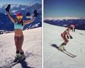 Para festejar primavera na Europa, Maya Harrisson esquia de biquíni
