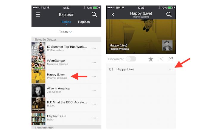 Abrindo as opções relacionadas a uma música no Deezer para encontrar a ficha do artista (Foto: Reprodução/Marvin Costa)