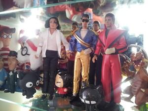 Raridades como a coleção de bonecos do cantor Michael Jackson fazem parte do acervo (Foto: Orlando Duarte Neto/G1)