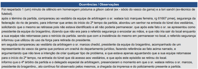 Súmula Vasco x Bragantino (Foto: Reprodução/ CBF.com.br)