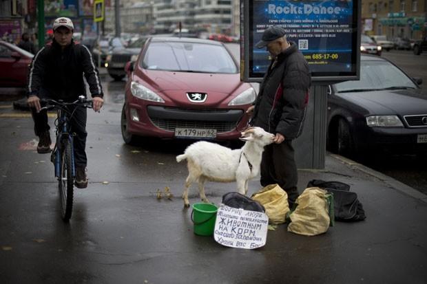 Um homem foi flagrado pedindo esmola com uma cabra no centro de Moscou, na Rússia, em maio de 2012 (Foto: Natalia Kolesnikova/AFP)