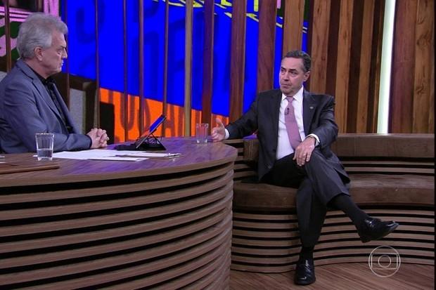 Ministro do STF Luís Roberto Barroso, no Conversa com Bial, da TV Globo (Foto: reprodução )