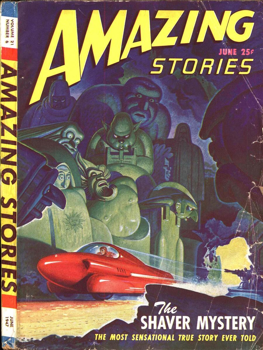 """Capa da revista Amazing Stories, de Ray Palmer, com chamada para o """"Mistério de Shaver"""" (Foto: Reprodução)"""