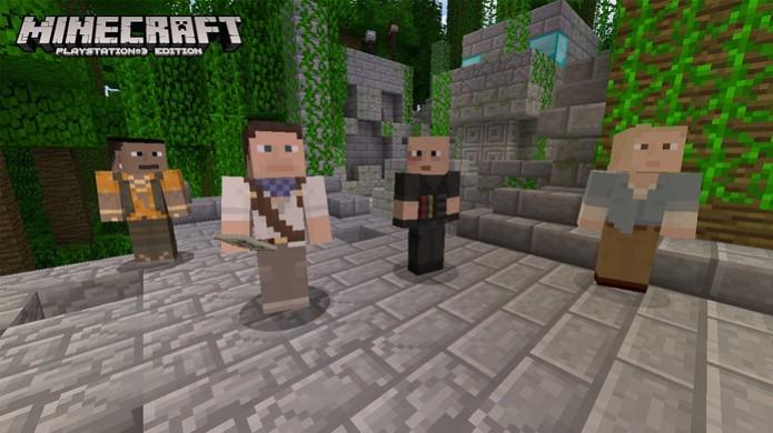 Encarne Nathan Drake e seus amigos no jogo de blocos Minecraft para PlayStation 3 (Foto: PlayStation Blog) (Foto: Encarne Nathan Drake e seus amigos no jogo de blocos Minecraft para PlayStation 3 (Foto: PlayStation Blog))