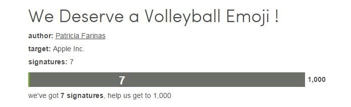 Petição para emoji de vôlei tem apenas sete adesões (Foto: Reprodução/The Petition Site)
