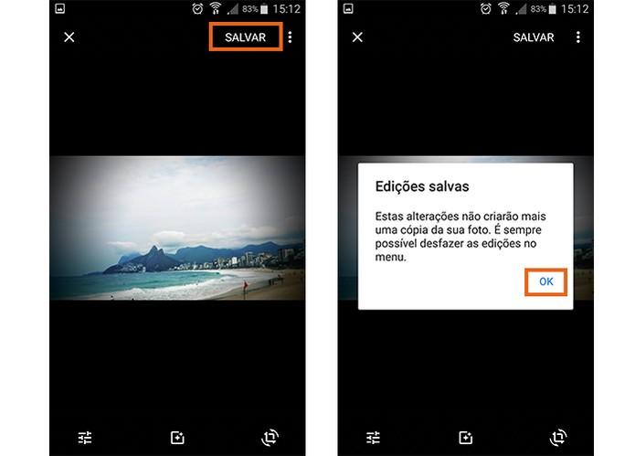 Salve o resultado da edição da imagem no seu celular pelo Google Photos (Foto: Reprodução/Barbara Mannara)