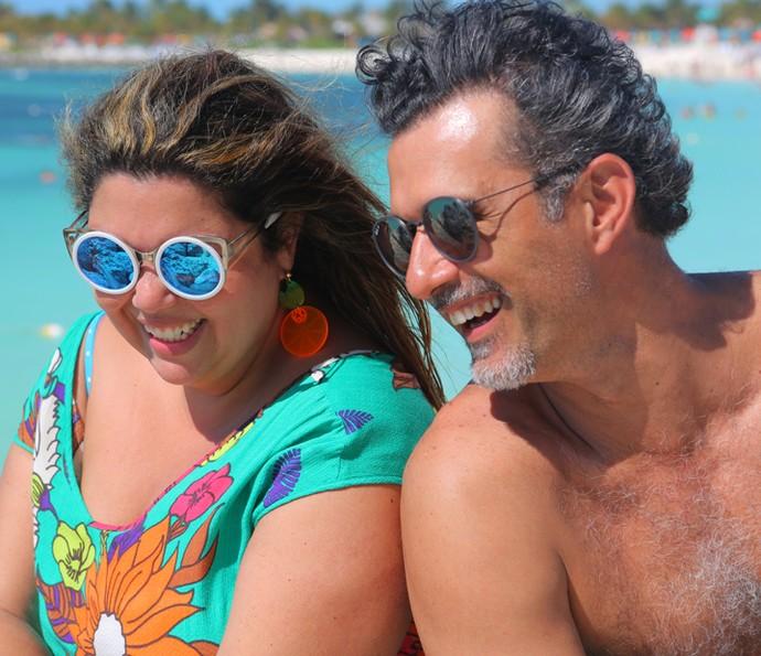 Fabiana Karla e Marcos Pasquim se divertem (Foto: Thiago Fontolan / Gshow)