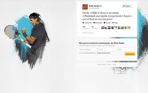 Reprodução twitter Rafael Nadal deseja boa recuperação a Pau Gasol (Foto: Reprodução / Twitter)