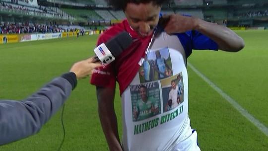 """Tiete de Robinho, Biteco dedica dois gols do Paraná ao irmão: """"Dando pulinhos no céu"""""""