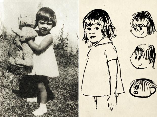 Foto de Mônica, filha de Mauricio de Sousa, quando criança, e os primeiros esboços da personagem (Foto: Divulgação / Mauricio de Sousa Produções)