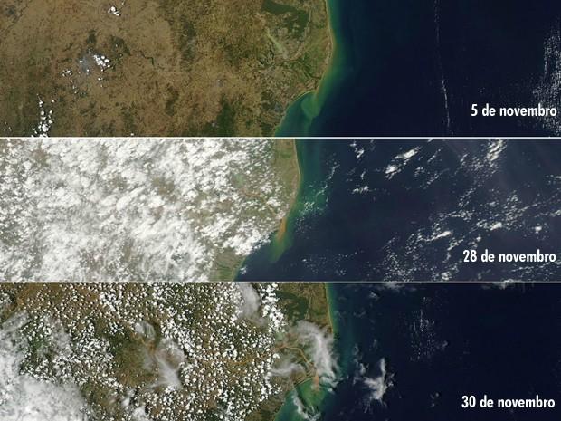 Satélite da Nasa mostra evolução da lama no Rio Doce (Foto: Reprodução/ WorldView Nasa)