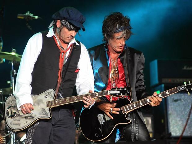 Johnny Depp toca com o Hollywood Vampires no Palco Mundo nesta quinta (24), quarto dia de Rock in Rio (Foto: Alexandre Durão/G1)