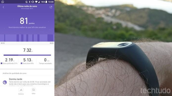 Xiaomi Mi Band pode acompanhar sono do usuário automaticamente com registro de qualidade (Foto: Elson de Souza/TechTudo)