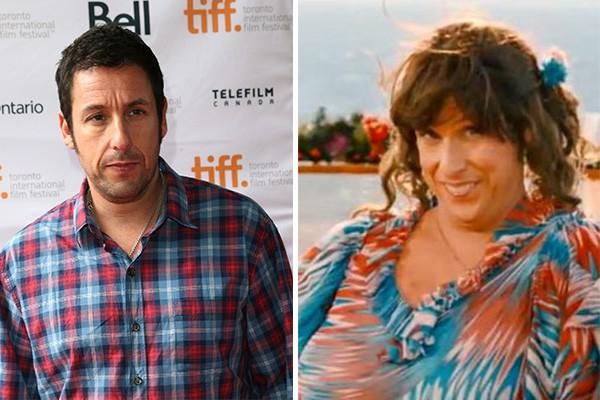 No filme 'Cada um tem a Gêmea que Merece', Adam Sandler interpreta a própria irmã gêmea.  (Foto: Getty Images e Divulgação)