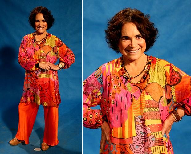 """Regina Duarte também apostou em estampa e cores vivas! A atriz definiu como um look: """"solar, vivo e tudo a ver com a sua personagem, Esther.. (Foto: Isabella Pinheiro/Gshow)"""